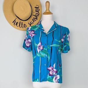 Vintage 90s Aesthetic Artsy Hawaiian Print Top M